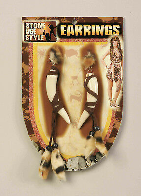 Pre Historic Cavewoman Saber Tooth Earrings Stone Age Costume Accessory