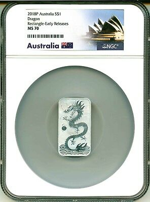 2018 P Australia S$1 Dragon Rectangle Bar Large Holder Early Release NGC MS70
