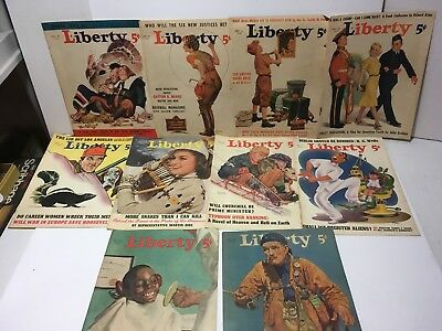 1936-1940 Mixed Lot Liberty Magazine Covers Only Plus Ads Coca Cola Camel Ford