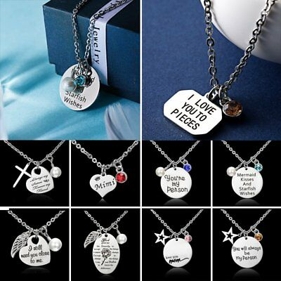 Stainless Steel Crystal Love Mom Engraved Letter Pendant Necklace Women Jewelry