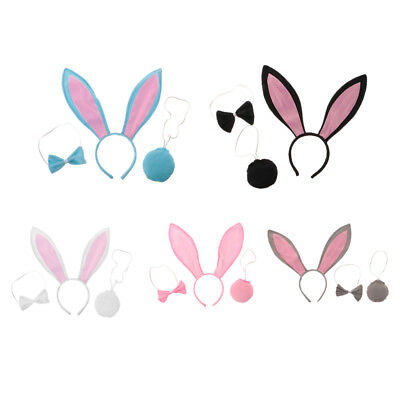 3/set Girls Kids Cute Bunny Rabbit Costume Set Long Ear Headband Tail Necktie
