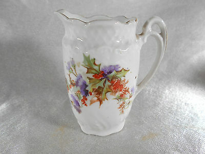 "( 01 ) Pichet / Pot A Lait "" Decor Floral "" Porcelaine De Limoges Ou Paris"