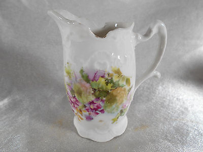 "( 02 ) Pichet / Pot A Lait "" Decor Floral "" Porcelaine De Limoges Ou Paris"