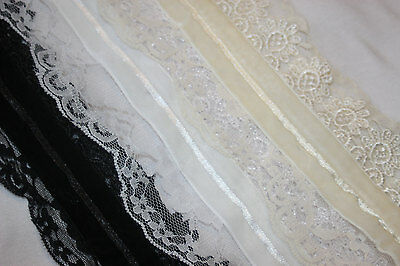 5 yards Daisy Flower Link Floral Lace Trim//Lacy Venise//dress//Sewing//Sew T4-Black