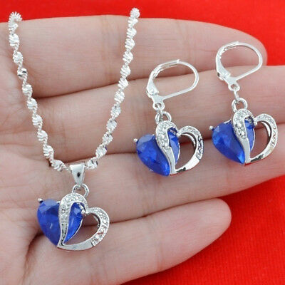 Sterling Silver Created Blue Sapphire Heart Pendant Necklace Earring And Chain