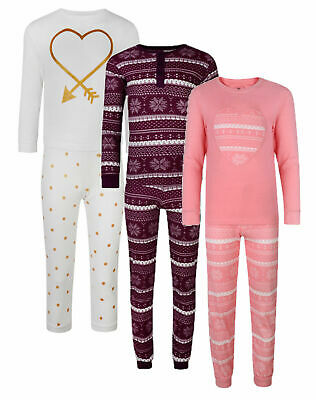 Girls Pyjamas Organic Cotton Ex Store 2Pc Long Night Wear Pj Set 3-14Y New