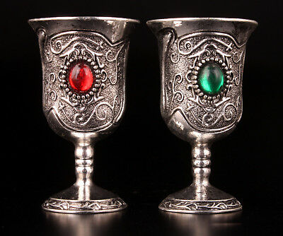 2 Tibetan Silver Wine Cup Inlay Ruby Emerald Gift Collection Value