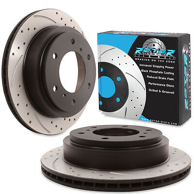 REAR DRILLED GROOVED 300mm BRAKE DISCS FOR MITSUBISHI PAJERO SHOGUN 3.2DI-D 3.8