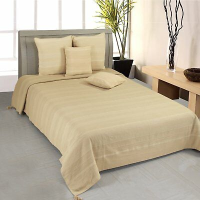 NEW Homescapes Rajput 100% Cotton Ribbed Throw 225cm x 225cm - Beige