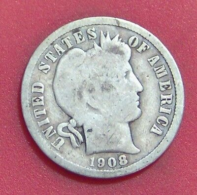 1908 O Barber Dime Silver Ten Cent **free Shipping ** B1736