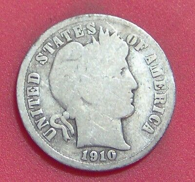 1910 S Barber Dime Silver Ten Cent **free Shipping ** B1742