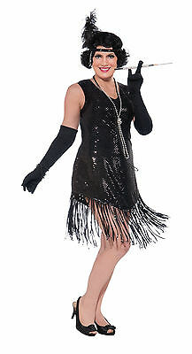 Womens Plus Size Swinging in Sequence Black Flapper Dress Costume Gatsby 1920's