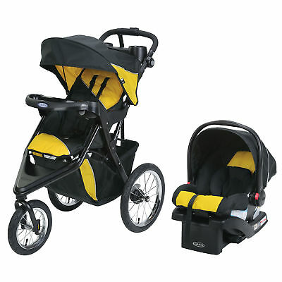 Graco Trax Jogger Click Connect Travel System Stroller with Seat and Base, Gold