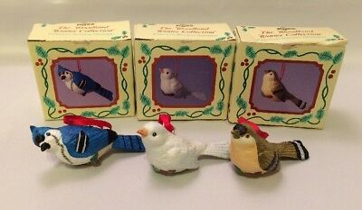 Russ Berrie Woodland Winter Bisque Porcelain Dove BlueJay Goldfinch Ornaments