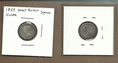 1859 Great Britain Silver 3 pence vg
