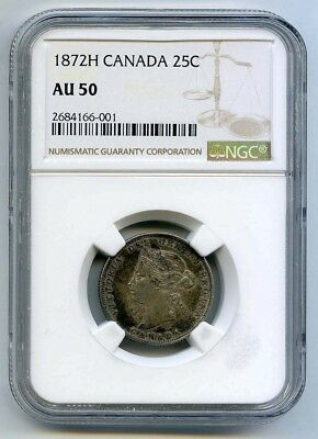 1872 H Canada 25 Cents NGC AU 50 - Canada 25¢ - NGC Almost Uncirculated 50