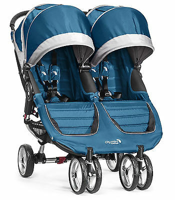 Baby Jogger City Mini Double Twin Stroller Teal / Gray NEW