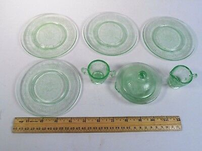 Vintage Mosser Glass *child Dish 4 Plates, Cream, Sugar & Covered Bowl.