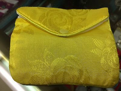 Jewelry Yellow Satin Pouches with Snap and Zipper Set of 2
