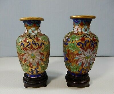 Antique Beijing hand made cloisonne vases one pair retired circa 1950s used