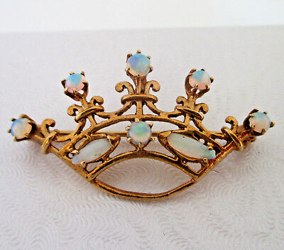 "Beautiful 14K Yellow Gold Natural Opal Crown Brooch Pin 1.5"" 4.03 Grams"