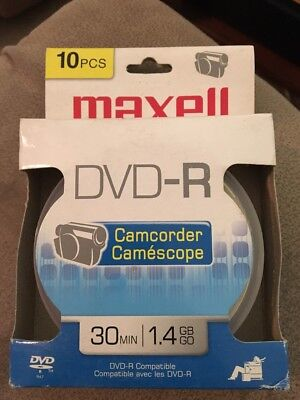 New 10 Pack Maxell DVD-R Mini Recordable Blank Video Disc CD Camcorders 1.4GB