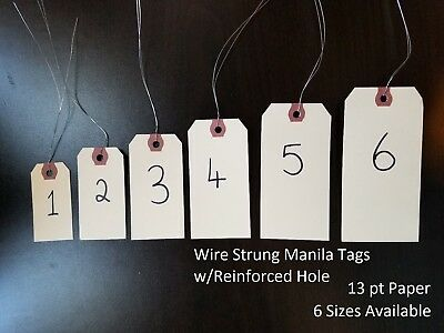 Wired Manila Tag Reinforced Hang Label Inventory Shipping Stock Size 1 2 3 4 5 6
