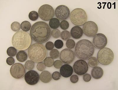 UNSEARCHED FOREIGN SILVER LOT OF 40 COINS 268 g WEIGHT #3701
