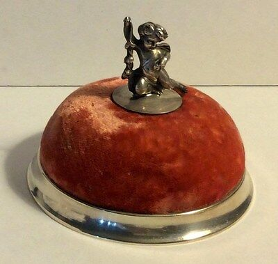 Sterling Silver 60's Cupid Cherub Tiffany & Co. Velvet Pin Cushion Sewing  #295