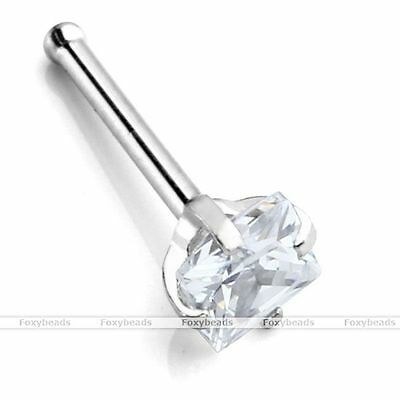1X 20G 316L Stainless Steel Clear 3mm SQUARE CZ Nose Bone Ring Stud Piercing HOT