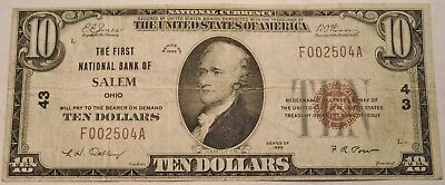 1929 $10 National Currency Salem, OH Ch# 43, Scarce Ohio Bank Note, Ten Dollar