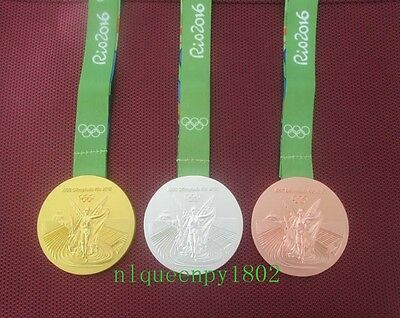 Full Set of 3 Rio 2016 Olympic Medals Gold Silver Bronze with Ribbons Souvenir A