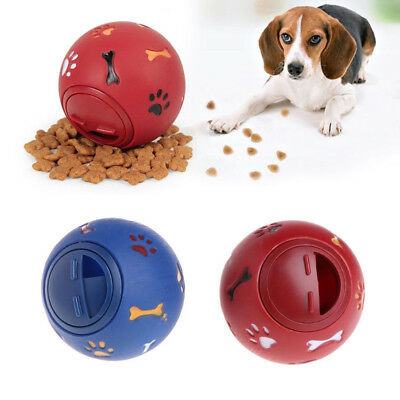 Fun Puppy Dog Play Ball Treat Dispenser Pet Cat Interactive Toy Food Dispensing