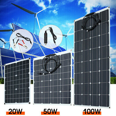 10-100W 5V 12/18V Monocrystalline Solar Panel Battery Charger RV Motorhome Boats