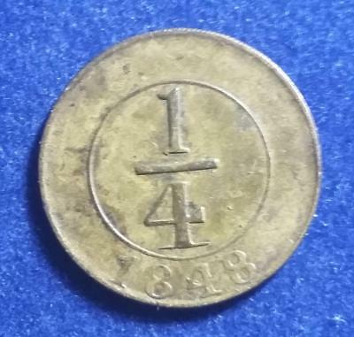 DOMINICAN REPUBLIC - 1848 brass 1/4 Real - plain 4 - uncleaned original - VF-XF