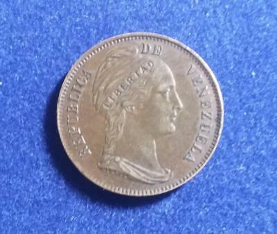 VENEZUELA - 1858 incused LIBERTAD 1 Centavo - uncleaned original - XF