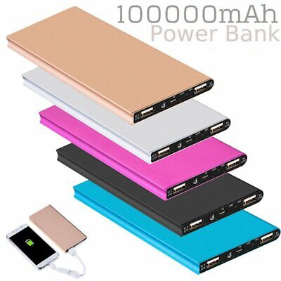 100000mAh Dual USB External Power Bank Portable LED Charger Pack For Cell Phone