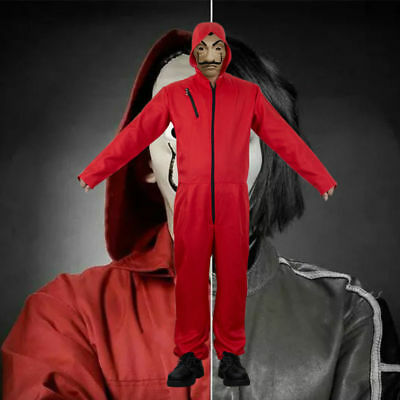 La casa De Papel Cosplay Costume Salvador Dali Money Heist Hoodie Jumpsuit Mask