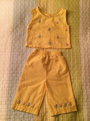 Vintage 18m Girls Yellow Floral Pint Size Brand Shirt And Pants Outfit Set
