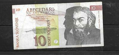 SLOVENIA #11a 1992 VG CIRCULATED 10 TOLARJEV BANKNOTE PAPER MONEY CURRENCY NOTE