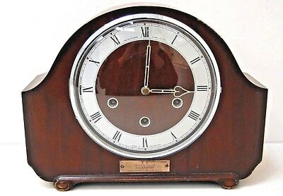 Vintage Smiths Westminster Chime Mantel Clock with Key & Pendulum