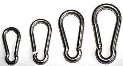 Stainless Steel Carabiner Clip Snap Hook Spring Loaded Carabina Carbine 50-80mm
