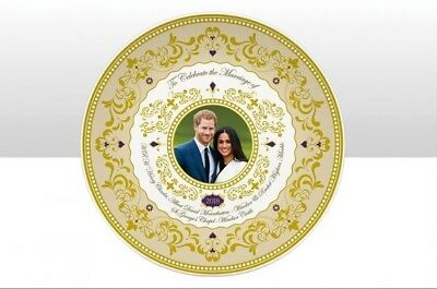 Royal Wedding 2018 - 20cm Gold Gilded Plate and Stand Prince Harry & Meghan Mark