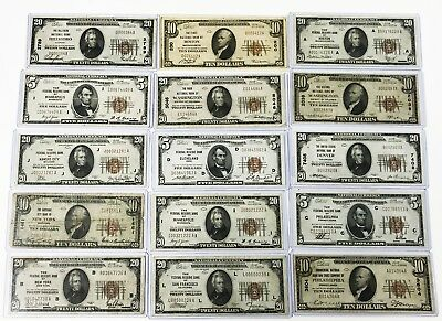 Large Collection 1929 Federal Reserve National Currency Bank Notes Paper Money