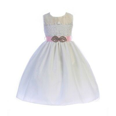 69f45078fd3 CRAYON KIDS LITTLE Girls Dusty Rose Floral Lace Easter Flower Girl Dress 5 6  -  21.99