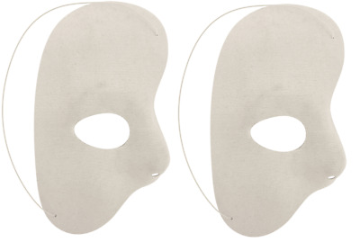 2 x Half Face Mask White Phantom Of The Night Opera Adult Masquerade Party 26027