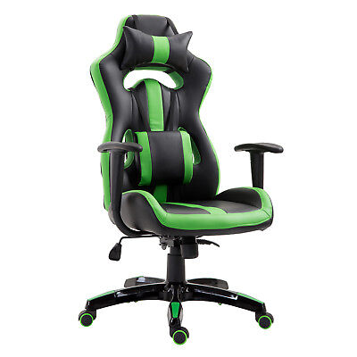 Gaming Office Chair Swivel Seat Ergonomical High Back Tilt Green PU Leather
