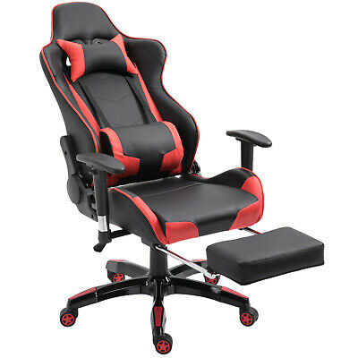 Gaming Chair Office Chesterfield Executive Swivel Ergonomic Red PU Leather