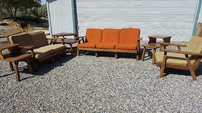 Set Of A. Brandt Ranch Oak Mid Century Sofa, Chair, Love Seat, End Tables