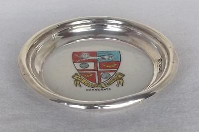 A Carlton China Sterling Silver Pin Dish Coat Of Arms For Harrogate Dates 1905.